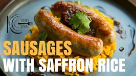 Sausage With Saffron Rice And Onion Jam