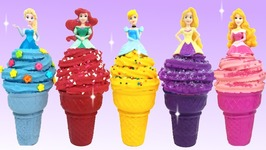 Play Doh Disney Princess Ariel Cinderella Ice Cream Learn Colors
