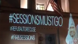 SessionsMustGo' Projected on FBI Headquarters and Department of Justice
