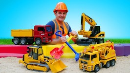 Sandbox Games with Bruder Toys and Heavy Vehicles for Kids- Bruder Truck, Bulldozer, Crane, and Grader