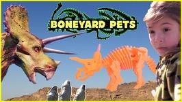 Boneyard Dino Dig: Dinosaur Adventure Irl W/ Kids Playing, Riding Cars, 3d Toy Dinosaurs Puzzle
