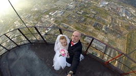 Wedding on tallest chimney in Romania
