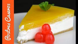 Tarta de queso philadelphia y mango, tarta fría sin horno