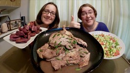 Pork Chops, Purple Yam Wedges And Salad / Gay Family Mukbang - Eating Show