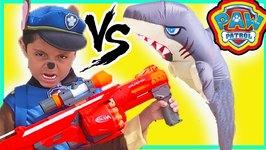 Paw Patrol Chase Nerf Shark Toys T-rex vs Catboy