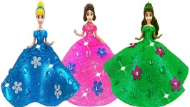 DIY How To Make Play Doh Super Sparkle Dresses For Disney Princess Dolls Making With Glitter