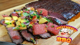 Summer Time Grilled Marinated Molasses Flank Steak With A Watermelon Salsa