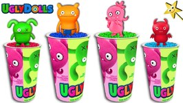 UGLY DOLLS MOVIE CUPS GAME: Find Surprise Toys in Kinetic Sand  Learn Colors