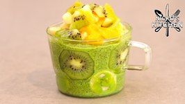 Green Breakfast Chia Pudding / No Added Sugar / Healthy Recipe