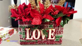 Upcycled Oatmeal Box - Christmas Flower Box - Dollar Tree Crafts 2017