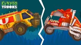 Tug Of War - Crypto Trucks - Good Vs Bad - Sasquash Vs Funky Truck - Monster Truck Videos