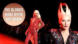 Daphne Guinness models for The Blonds at NYFW