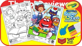 McDonalds Happy Meal Books Coloring Page Crayola Markers Unboxing Toy Review