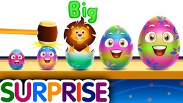 Learn Sizes and Wild Animals with Wooden Hammer Surprise Eggs Hitting Game - ChuChu TV Surprise
