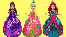 How To Make Super Glitter Play Doh Disney Princess Dresses Frozen Elsa Ariel Anna Magiclip