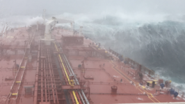 Outside Cork, Ship Plows Through Huge Waves From Former Hurricane Ophelia