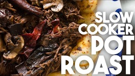 Slow Cooker Pot Roast -Pulled Meat with Mushrooms And Potatoes