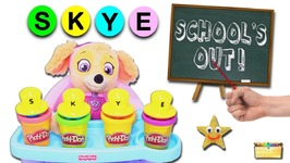 PAW PATROL SCHOOL GAME with Skye -Play-Doh Shape and Learn - LEARN ABCs- Spelling- Colors and Toys