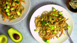 Peanut Noodles With Avocado - Cucumber And Sesame Seeds