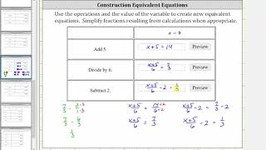 Determine Equivalent Equations Given x  a (3 Operations) Ex 1