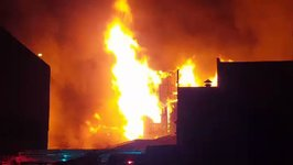 Fire Burns Abandoned Factory in Cremorne, Melbourne