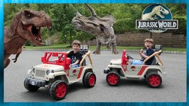 Dinosaur Track & Real Life Dinosaur Races with Power Wheels For Kids - Chase and Cole Adventures