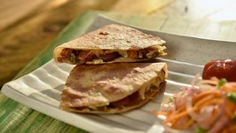 Stuffed Cheesy Sausage Chapati - Stuffed Roti With Sausage And Cheese - Quick And Easy Snack Recipe