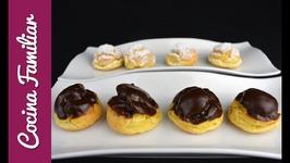 Profiteroles de crema con baño de chocolate - Recetas de morroneo