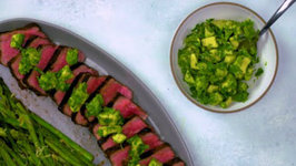 Steak With Avocado - Chimichurri Sauce And Grilled Asparagus