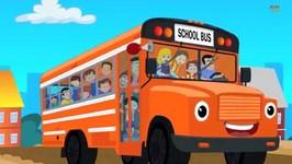 Wheels On The Bus Go Round And Round - Nursery Rhymes - Orange Bus