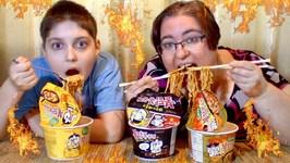 Samyang Korean Fire Noodles Curry, Original And Cheese- Gay Family Mukbang - Eating Show