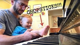 Thrilled Toddler Plays Piano By Foot