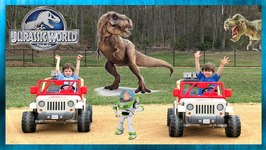 Toy Story 4 Movie Escapes the Dinosaurs and T-Rex Dinosaurs For Kids with Chase and Cole Adventures