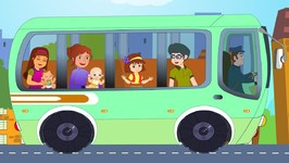 Green Wheels On The Bus - Kindergarten Nursery Rhymes For Toddlers - Cartoon For Children