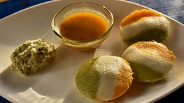 Carrot And Coriander Idli - How To Make Tri Coloured Rice Cakes - Independence Day Special