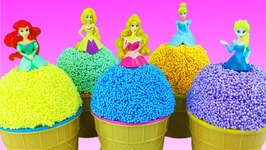 Play Foam Ice Cream Surprise Toys Disney Princess Learn Colors Play Doh Foam Eggs