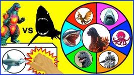 Godzilla Vs Sharks Game  Surprise Godzilla   Shark Toys  Slime Wheel Games For Kids Video