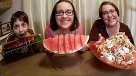 BBQ Pork Ribs, Greek Salad And Watermelon-Gay Family Mukbang- Eating Show