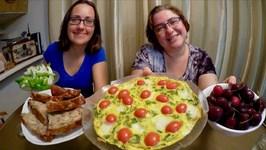 Tomato Frittata, Banana Bread And Cherries -Gay Family Mukbang -Eating Show