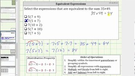 Determine Equivalent Expressions Using the Distributive Property and Order of Operations