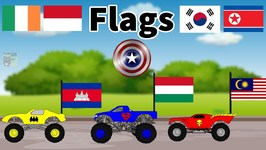 Monster Truck Videos - Learn Country Flags For Kids Educational Video Flag Song - 6