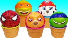Learn Colors Slime Ice Cream Cups Balls Surprise Toys Paw Patrol Superheros