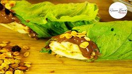 Healthy School Lunch Ideas - Lettuce Hazelnut Spread Banana Wrap