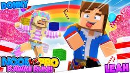 Minecraft PRO VS NOOB - CRAZY CAT LAND KAWAII RUN!! Donny & Leah Adventure Map