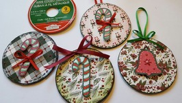Christmas Ornaments And Refrigerator Magnets - Upcycled Crafts