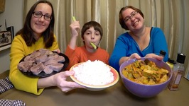 Vegetable Curry, Rice And Beef Tongue / Gay Family Mukbang - Eating Show