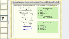 Solve an Equation: Deconstruct Method and Traditional Method I