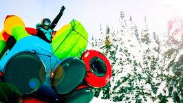 Bouncy House Sledding Down Mountain - 50 MPH