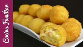 Bolas de patata y queso con virutas de jamón ibérico - Recetas de morroneo