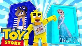 Minecraft TOYSTORE: CHICA DOLLS CAPTURE ELSA!! w/Little Carly and Little Kelly.
